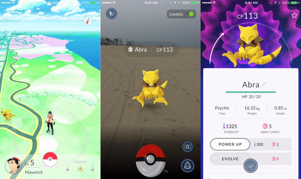 Pokémon Go - Screenshots de la capture d'un Abra